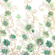Spitze mit Pailletten, 13542, creme, grün