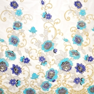 Lace with sequins, 13543, cream, blue - Bema Fabrics