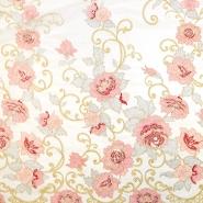 Čipka z bleščicami, 13544, krem roza