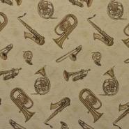 Deco jacquard, music, brass, 14796 - Bema Fabrics