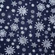 Bombaž, poplin, snežinke, 15154-008