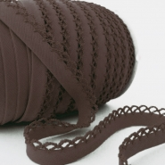 Bias tape, cotton, folded,  00318-102, brown