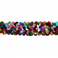 Elastic with sequins, 30mm, 00372, multicolour