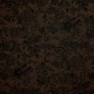 Tkanina, elastična, retro, 14895-3, rjava