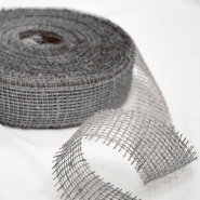 Jute, strip 5cm, 15431, silver