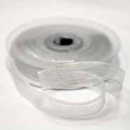 Lame ribbon, transparent, 15mm, 15477-2, silver