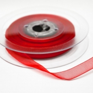 Organza ribbon, 10mm, 15465-1229, red