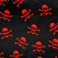 Satin, polyester, skull, 13932-01