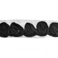 Band, gewebte Blüten, 14165-30a, schwarz