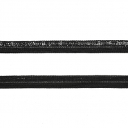 Elastika, obrobna, svetleča, 14165-918A, črna