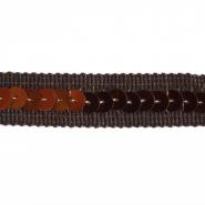 Traka, rips, šljokice, 15mm, 14165-64, smeđa
