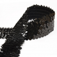 Elastic with sequins, 50mm, 14165-24, black