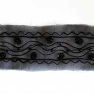 Traka, vezena, sa šljokicama, 100mm, 14165-11, crna