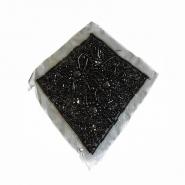 Prišivak, umetak, šljokice, 14165-B1, crna