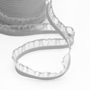 Elastika z volančki, 15 mm, 00294-4, siva