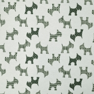 Deco jacquard, animals, dog, 15771-37, green