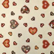 Deko žakard, srca, 15789