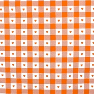 Deko, tisk, 280cm, kare in srčki, 14185-24, oranžna