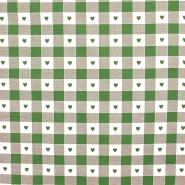 Deko, tisk, 280cm, kare in srčki, 14185-25, zelena