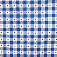 Deko, tisk, 280cm, kare in srčki, 14185-26, modra