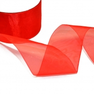 Organza ribbon, 50mm, 5034-25, red - Bema Fabrics
