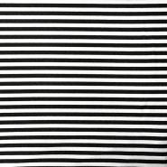 Triko materijal, prugice, 15633-369, crna