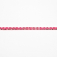 Trim, leatherette with crystals, 16512-41558, pink