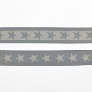 Elastic strip, 40mm, stars, 16515-42500, grey