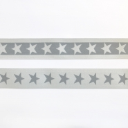 Elastic strip, 40mm, stars, 16515-42501, grey
