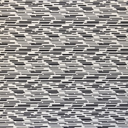 Fabric, elastic, geometric, 16593-999, black white