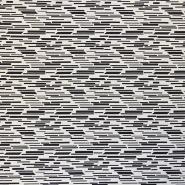 Tkanina, elastična, geometrijski, 16593-999, crno bijela