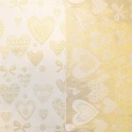 Deko saten, praznični, 17216-01, zlata