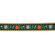 Trak, žakard, cvetlični, 17271-30107, črna