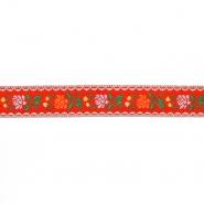 Trak, žakard, cvetlični, 17271-30112, rdeča