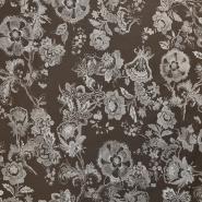Poplin, cvetlični, 12726-03, rjava