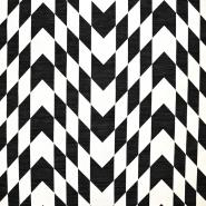 Žakard, geometrijski, 17479-15, črno-bela