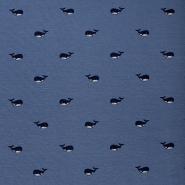 Jersey, pamuk, životinjski, 17576-021, temno modra