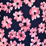 Jersey, viskoza, cvetlični, 17906-011, črna