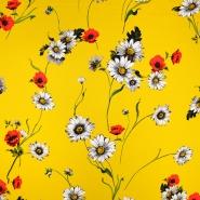 Svila, saten, cvetlični, 18092-117, rumena