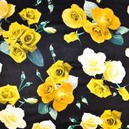 Svila, saten, cvetlični, 18094-171, črna