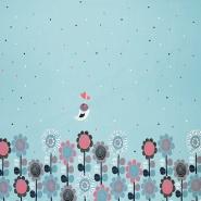 Jersey, bombaž, cvetlični, 17560-09, modra