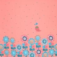 Jersey, bombaž, cvetlični, 17560-12, roza