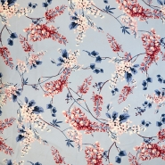 Saten, bombaž, cvetlični, 18159-29, modra