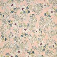 Saten, bombaž, cvetlični, 18159-28, roza