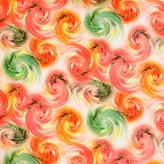 Tkanina, viskoza, abstraktni, 18228-015, oranžno zelena