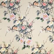 Svila, saten, digital tisk, cvetlični, 18270-10