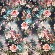 Svila, saten, digital tisk, cvetlični, 18270-13