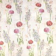 Svila, saten, digital tisk, cvetlični, 18270-15