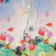 Svila, saten, digital tisk, cvetlični, 18270-16