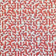 Bombaž, poplin, geometrijski, 18279-137, rdeča